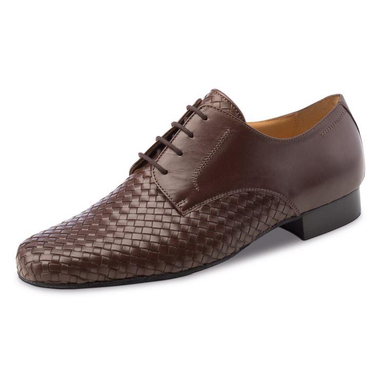 chaussure de danse pour homme werner kern 28018, chaussure de danse de salon, en cuir brun ou noir, laçage 4 trous, tressé sur le devant de la chaussure et lisse au talon, idéal pour danse de salon, danceworld bruxelles