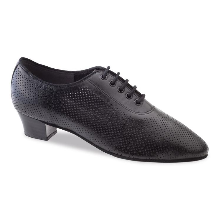 Chaussure de danse pour femme Anna Kern 570-35 est un chaussure fermé en cuir noir, aéré par des petits trous, très confortable et souple, elle convient parfaitement pour les entraînements en danse de salon, talon 3 cm, laçage 5 trous, Danceworld à Bruxelles