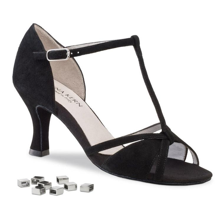 Chaussure de danse pour femme Anna Kern 690-60 est en daim noir avec une bride T décoré par du métal cuivré, ouverture sur les orteils, la chaussure est très souple et confortable, talon 6 cm. Idéal pour danse de salon. dance world à bruxelles