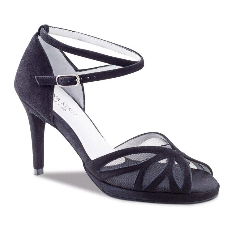 chaussure de danse pour femme anna kern 930-80, chaussure de danse de salon et bachata, en daim noir, très souple et confortable, semelle compensée, bride tour de cheville, petite ouverture sur les orteils, talon 8 cm, idéal pour danse de salon et bachata, danceworld à bruxelles