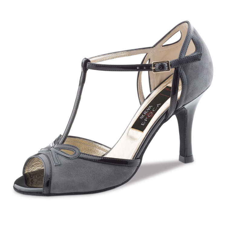 Chaussure de danse pour femme Nueva Epoca Alexia 6 est en daim et vernis, très élégante, très confortable, tige en T ouverture sur les orteils,chaussure très aérée, talon 6 cm. Idéal pour danse de salon. Danceworld à Bruxelles