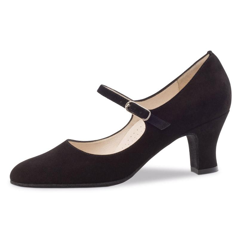 chaussure de danse pour femme werner kern ashley 60, chaussure de danse de salon, en daim noir,très souple et confortable, bride sur le coup de pied, talon 6 cm, semelle confort (ergonomique), idéal pour danse de salon, danceworld à bruxelles
