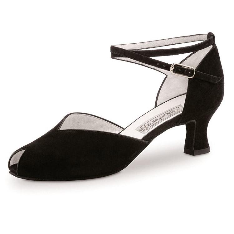 Chaussure de danse de salon femme ASTA 55, de WERNER KERN. Daim noir, talon 5.5 cm, semelle daim. Danceworld, Bruxelles.