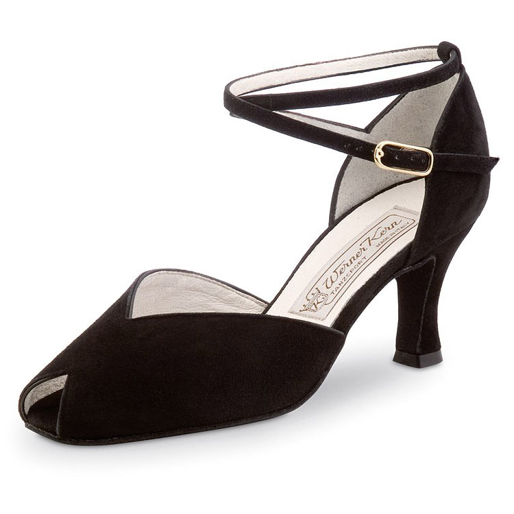 Chaussure de danses de salon femme ASTA 65, de WERNER KERN. Daim noir, talon 6.5 cm, semelle daim. Danceworld Bruxelles