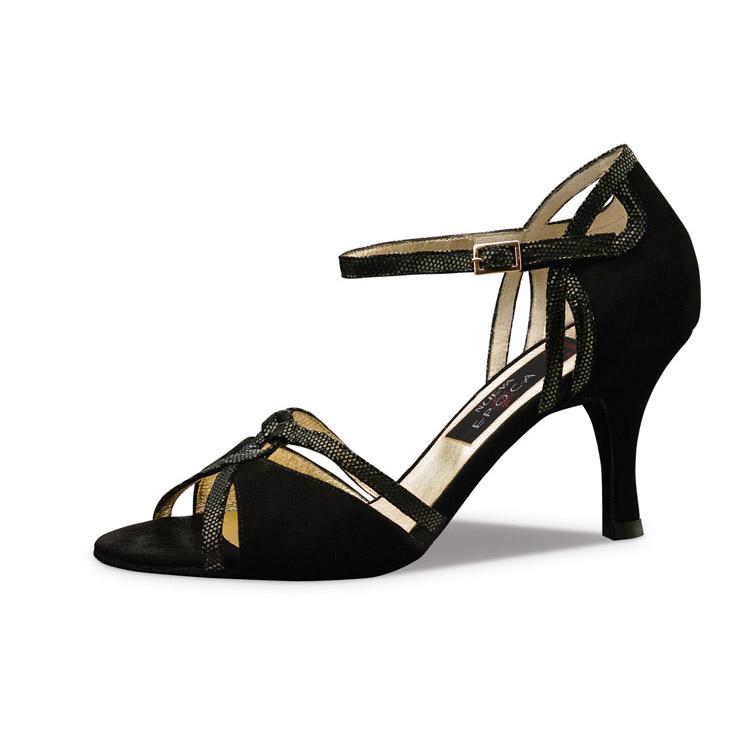 Chaussure de danse pour femme Nueva Epoca Christina 7 est en daim noir et cuir imprimé noir, très confortable, ouverture sur les orteils et le côté du talon, bride coup de pied, talon 7 cm. Idéal pour danse de salon. Danceworld à Bruxelles