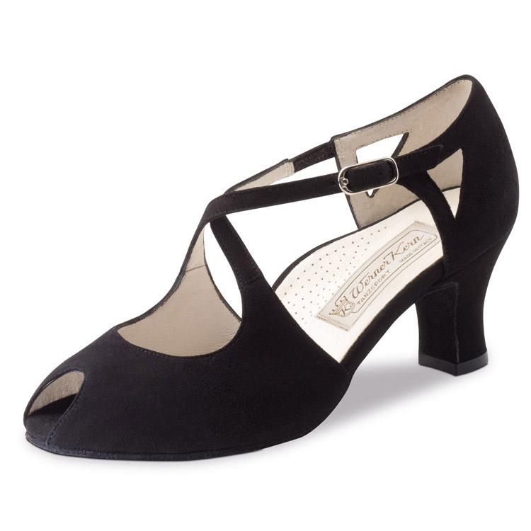 chaussure de danse werner kern georgia 60, chaussure de danse de salon, sont en daim noir, petite ouverture sur le devant, très confortable, brides croisées sur le dessus, talon 6 cm, très souple, idéal pour danse de salon, danceworld bruxelles