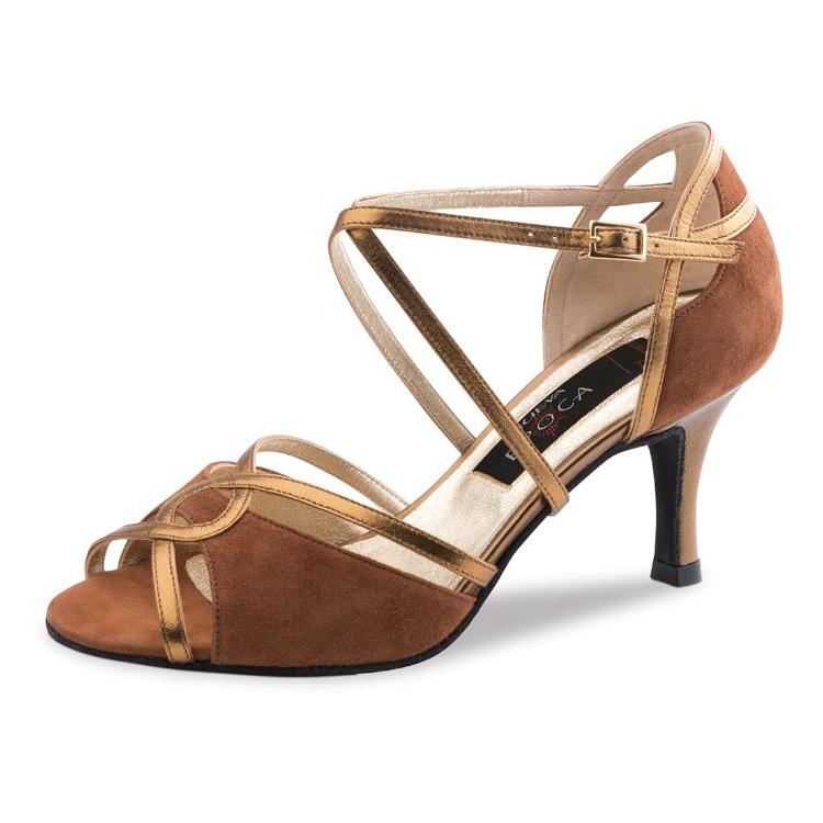chaussure de danse pour femme nueva epoca helen 8, chaussure de dans de salon, en cuir et daim souple, très confortable, ouvert sur les orteils et le pied, brides croisées pour un bon maintien du pied, talon 8 cm, idéal pour danse de salon, danceworld à bruxelles