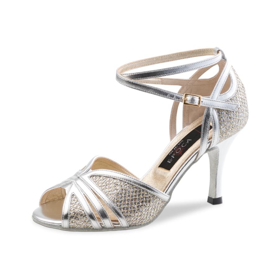 Chaussure de danse pour femme Nueva Epoca Pearl 7 est en cuir souple décoré par une brocade assortie, très confortable, petite ouverture sur les orteils, bride tour de cheville, talon 7 cm. Idéal pour danse de salon. Danceworld à Bruxelles