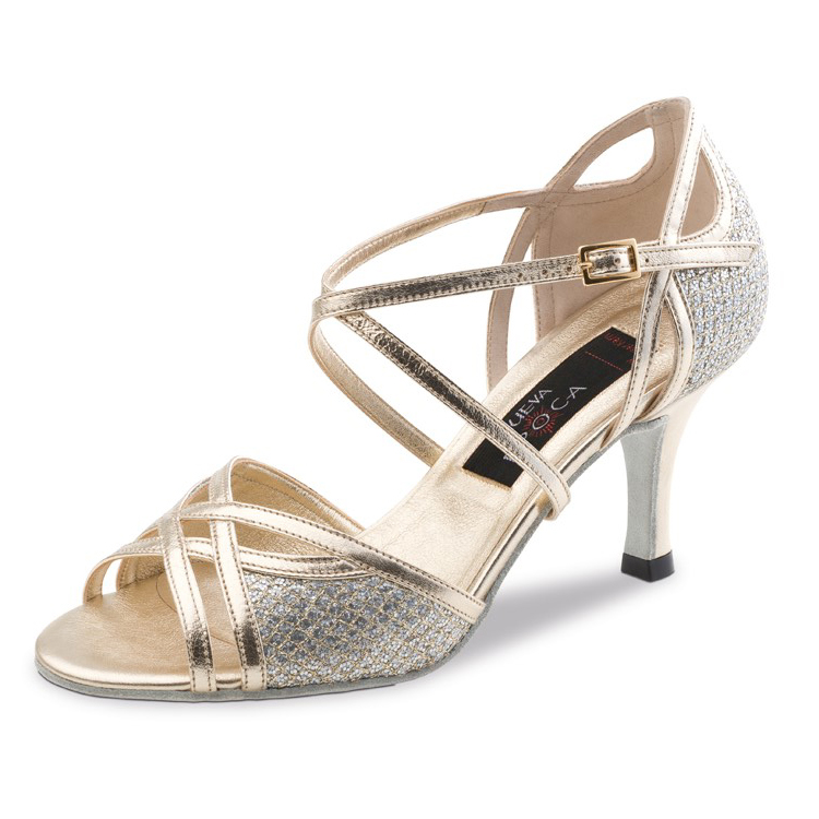 Chaussure de danse pour femme Nueva Epoca Rose 6 est cuir et cuir imprimé, très élégante, ouverture sur les orteils et sur le dessus du pied, brides croisées sur le pied pour un bon maintien du pied, talon 6 cm. Idéal pour danse de salon. Danceworld à Bruxelles