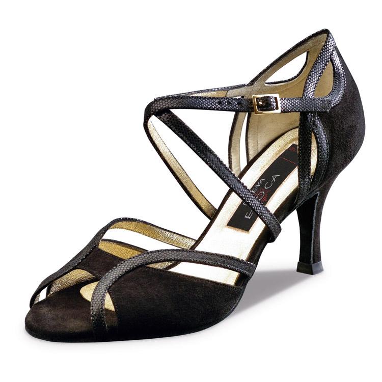 Chaussure de danse pour femme Nueva Epoca Shakira 8 est un mélange de daim noir et cuir, très élégante, ouverture sur le devant du pied et sur le talon, bride croisées sur le pied pour un bon maintien du pied, talon 8 cm. Idéal pour danse de salon. Danceworld à Bruxelles