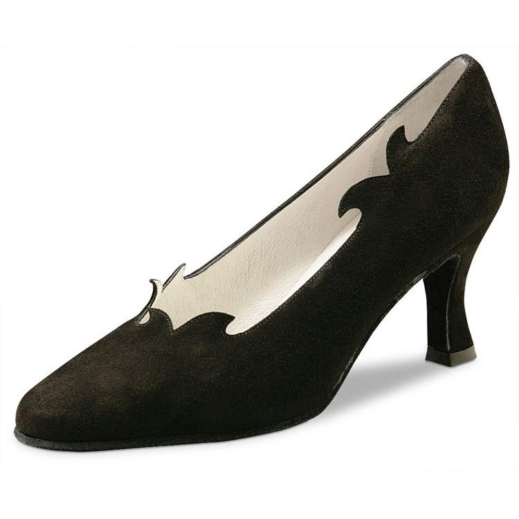 chaussure de danse pour femme werner kern sigrid 65, très confortable, en daim noir, très élégante aves ses petites vagues montant sur le pied, talon 6.5 cm, idéal pour danse de salon, danceworld bruxelles