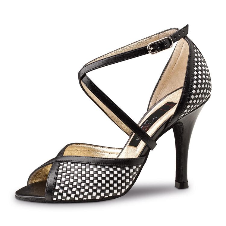 chaussure de danse pour femme nueva epoca simona 8, chaussure de danse de salon, en cuir noir et blanc quadrillé, très souple et confortable, son design tressé lui apporte l'élégance, talon 8 cm, bride croisée sur le pied, idéal pour danse de salon, danceworld à bruxelles