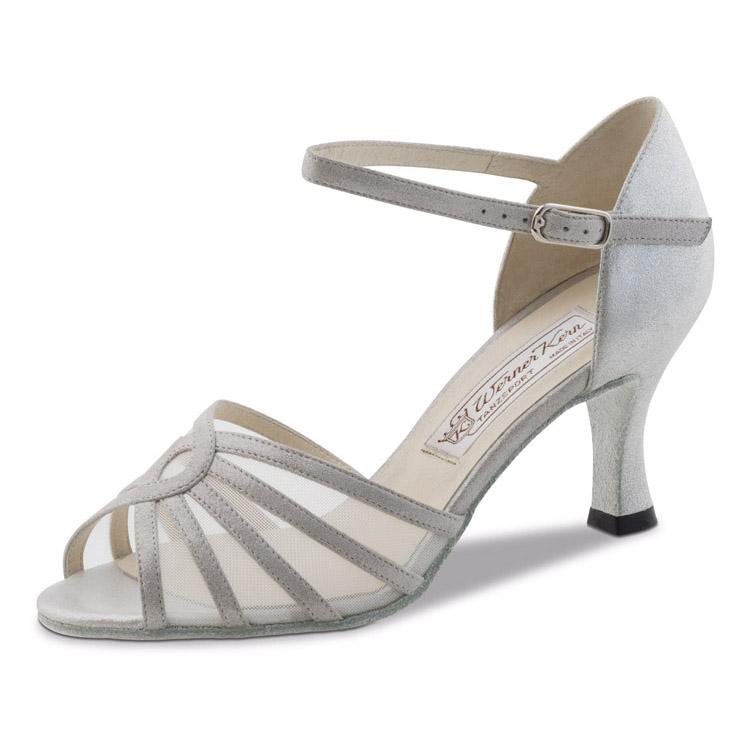 chaussure de danse pour femme werner kern summer 65, chaussure de danse de salon,filet résille,talon 6.5 cm,cuir silver argent, danceworld