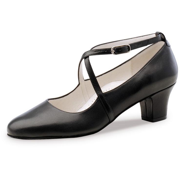 Chaussure de danses de salon WERNER KERN Sidney confort 45, semelle confort, cuir noir, talon 4.5 cm. Danceworld Bruxelles