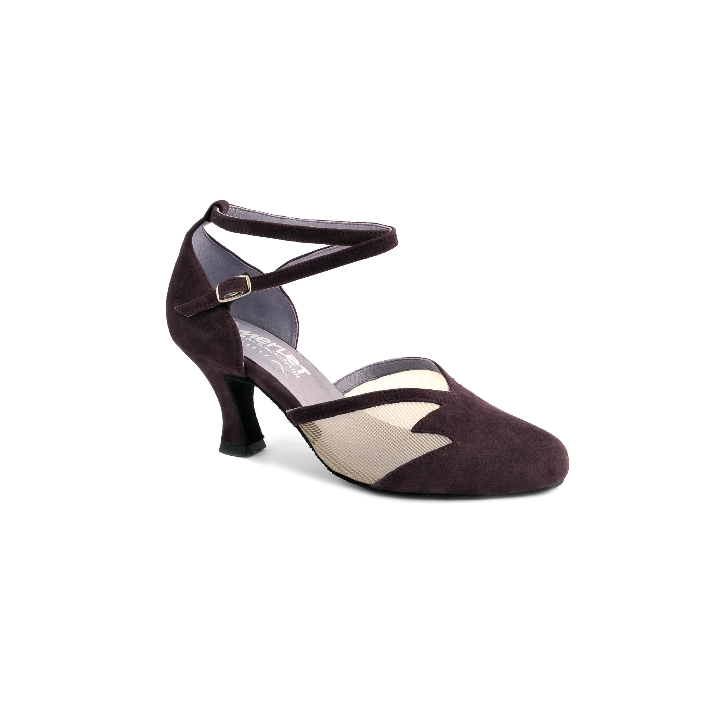 Chaussure de danses de salon femme MERLET Cholet coloris betterave, talon 6 cm.
