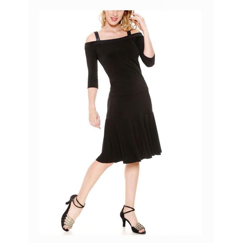 Blouse danses de salon noire, So DANCA E11167, bretelles larges, manches longues, épaules dénudées.