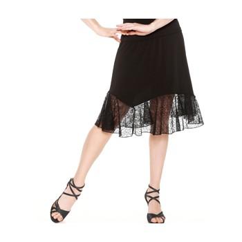Jupe tango SO DANCA E11175, noire, dentelle, longueur genou.