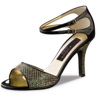 Chaussure de danse pour femme NUEVA EPOCA Cecilia a une ouverture sur le devant du pied. Le talon recouvert de brocart multicolore combiné aux lanières croisées en noir verni. La partie de l'avant du pied est également en brocart. Talon 8 cm. Danceworld à Bruxelles.