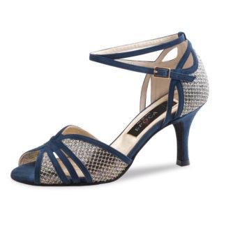 Chaussure de danse pour femme Nueva Epoca Donna 8 est en cuir avec une brocade assorti, très élégante et très confortable, ouverture sur les orteils et sur le côté du talon, bride tour de cheville, talon 8 cm. Idéal pour danse de salon. Danceworld à Bruxelles