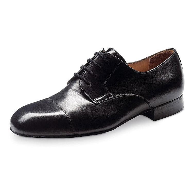 chaussure de danse pour homme werner kern 28011 en cuir noir, très confortable et souple, laçage 4 trous, conçu pour pieds larges