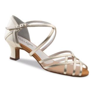 Chaussure de danse pour femme Anna Kern 580-50 est en cuir souple et très confortable, petite ouverture sur les orteils, brides croisées sur le pied, filet transparent, talon 5 cm. Idéal pour danse de salon. Danceworld à Bruxelles