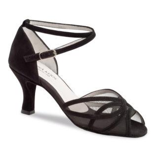 Chaussure de danse pour femme Anna Kern 740-60 est daim noir, très souple et très confortable, petite ouverture sur les orteils, filet transparent noir, brides autour de la cheville, talon 6 cm. Idéal pour danse de salon, Danceworld à Bruxelles