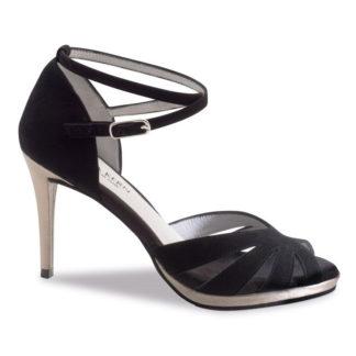 chaussure de danse pour femme anna kern 910-80, chaussure de danse de salon et bachata, est une chaussure avec semelle compensée, en daim noir et talon en cuir de 8 cm, bride autour de la cheville, petite ouverture pour les orteils, idéal pour danse de salon et bachata, danceworld à bruxelles