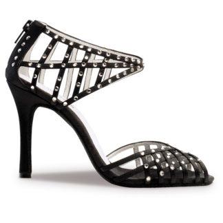 chaussure de danse pour femme anna kern 947-90, chaussure de danse de salon, en satin noir orné de strass, très confortable, ouverture sur les orteils et ouverture sur le talon et le dessus du pied, talon 9 cm, idéal pour danse de salon, danceworld à bruxelles