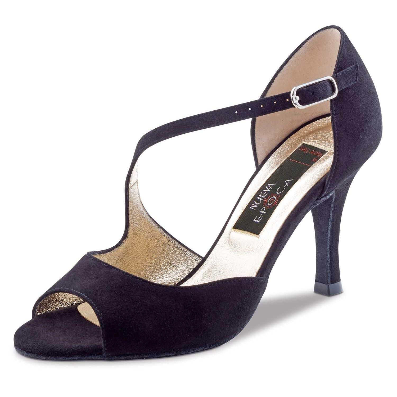 Chaussure de danse pour femme Nueva Epoca Hermosa 7 est en daim noir très élégante avec une seule bride sur le pied, très souple et très confortable, petite ouverture sur les orteils, talon 7 cm. Idéal pour dans de salon. Danceworld à Bruxelles