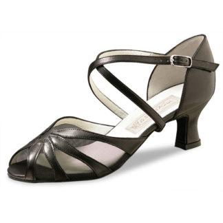 chaussure de danse pour femme, chaussure de danse de salon, filet résille noir transparent, lanières croisées, talon 5.5 cm.