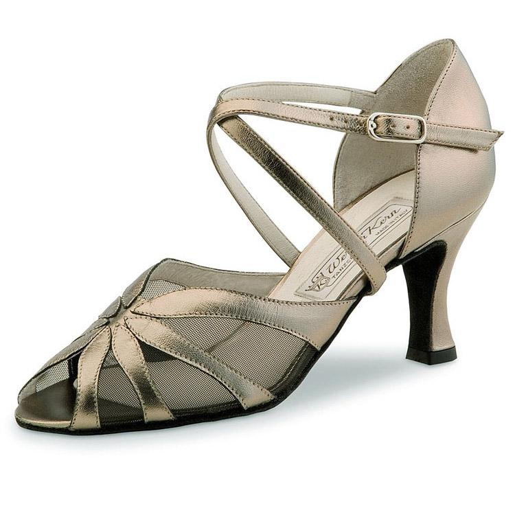 chaussure de danse pour femme werner kern liz 65, chaussure de danse de salon, en cuir souple, talon 6.5 cm, lanières croisées,filet résille noir transparent