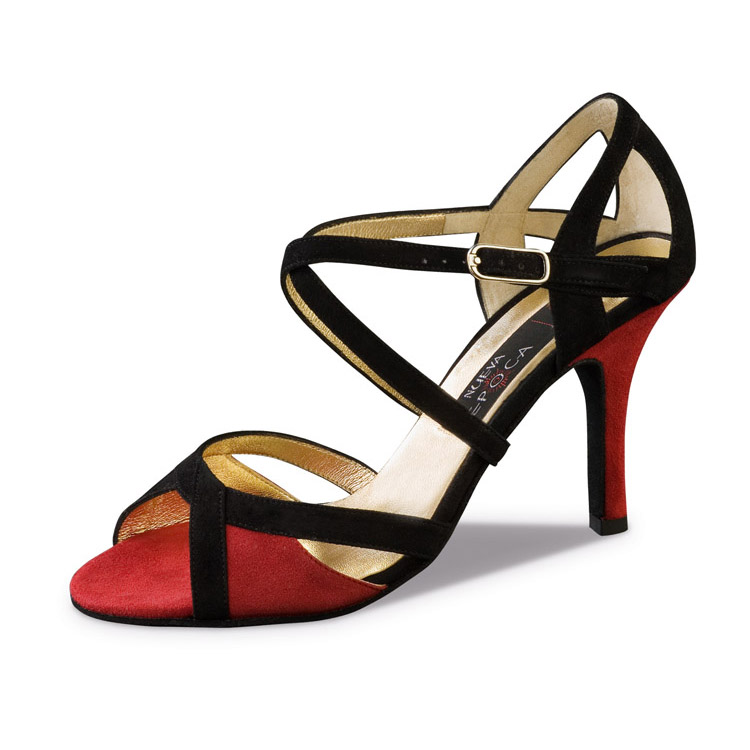 Chaussure de danse pour femme Nueva Epoca Paulina 8 est en daim rouge et noir, très confortable, ouverture sur le devant et l'arrière de la chaussure, brides croisées sur le pied pour un bon maintien du pied, talon 8 cm. Idéal pour danse de salon. Danceworld à Bruxelles