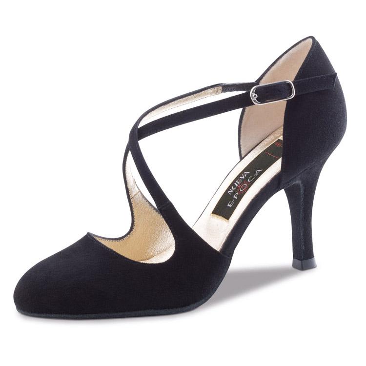 Chaussure de danse pour femme Nueva Epoca Serena 8 est en daim noir, chaussure fermé devant et brides croisées sur le pied pour un bon maintien, très souple et très confortable, talon 8 cm. Idéal pour danse de salon. Danceworld à Bruxelles