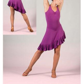 SHEDDO LA602W, Robe de salsa asymétrique à volant, danceworld, bruxelles.
