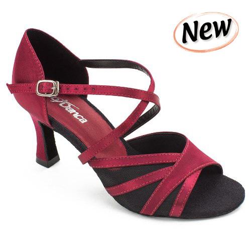 Chaussure de danse de salon femme SO DANCA BL162, satin bordeaux, talon 6 cm.