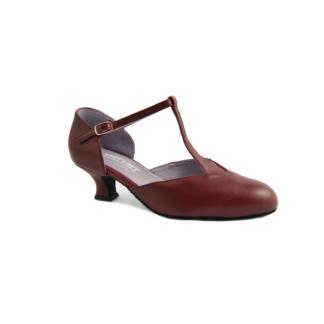 Chaussure de danses de salon femme MERLET Brenda coloris Hermes (rouge). Talon 5 cm.
