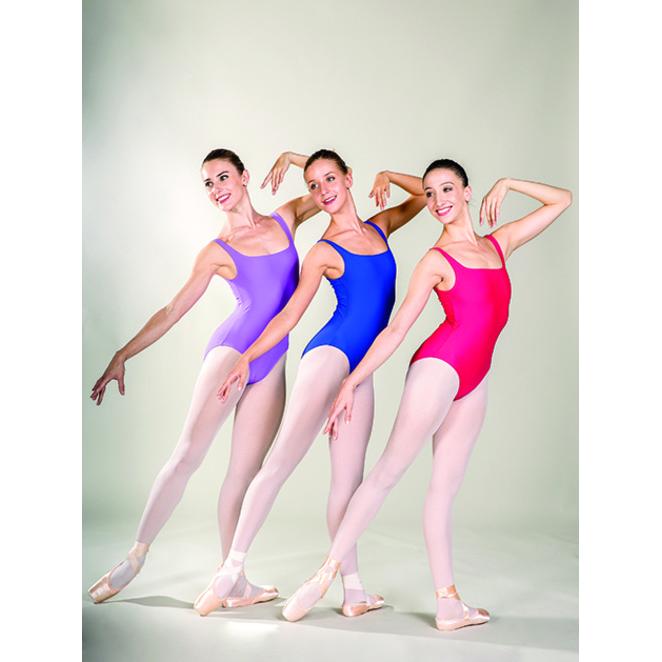Justaucorps Ballet Rosa MARIE, bretelles fines, dos plongeant, uni.