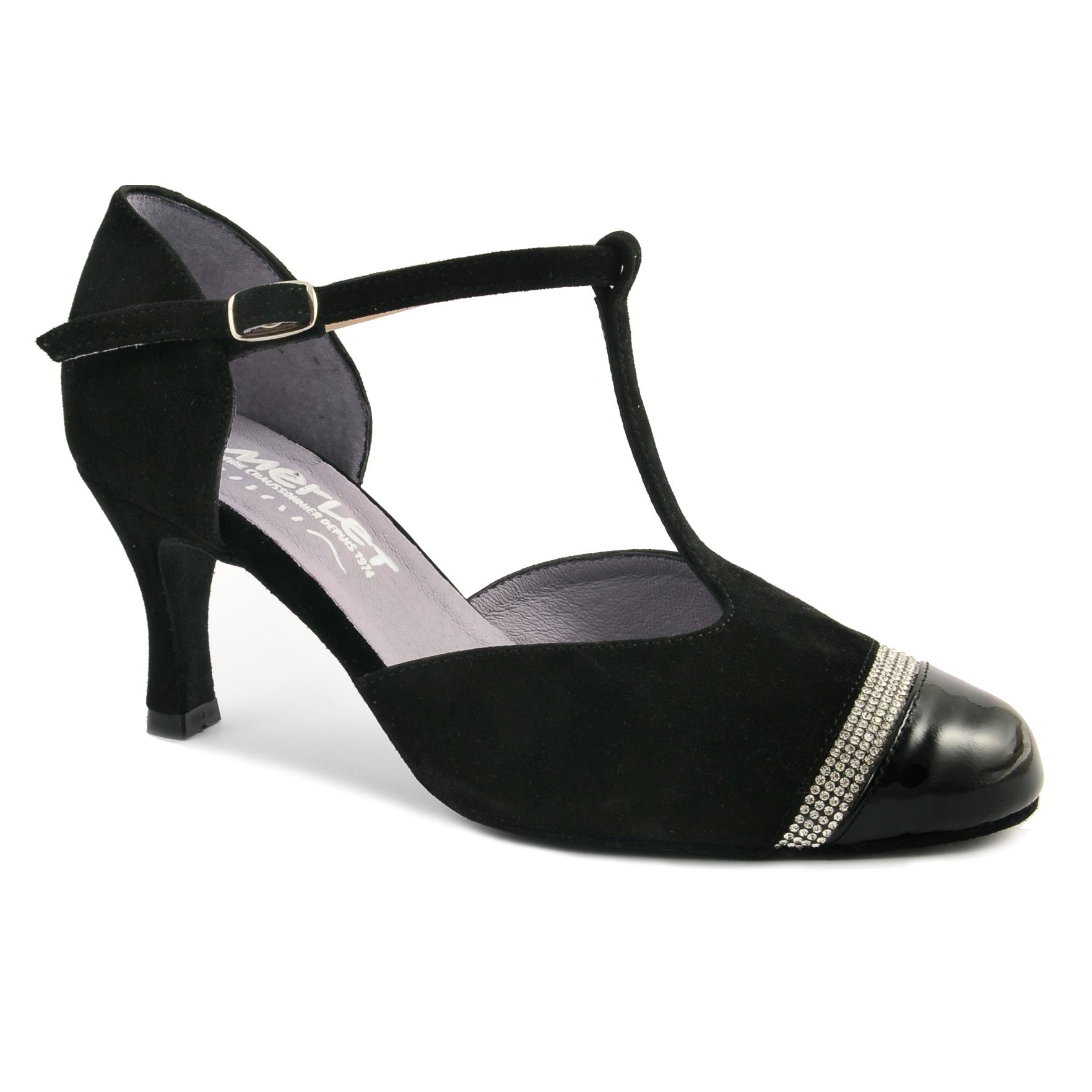 Chaussure de danses de salon MERLET NABEL, daim /vernis noir, strass, modèle fermé, semelle daim, talon 6 cm.
