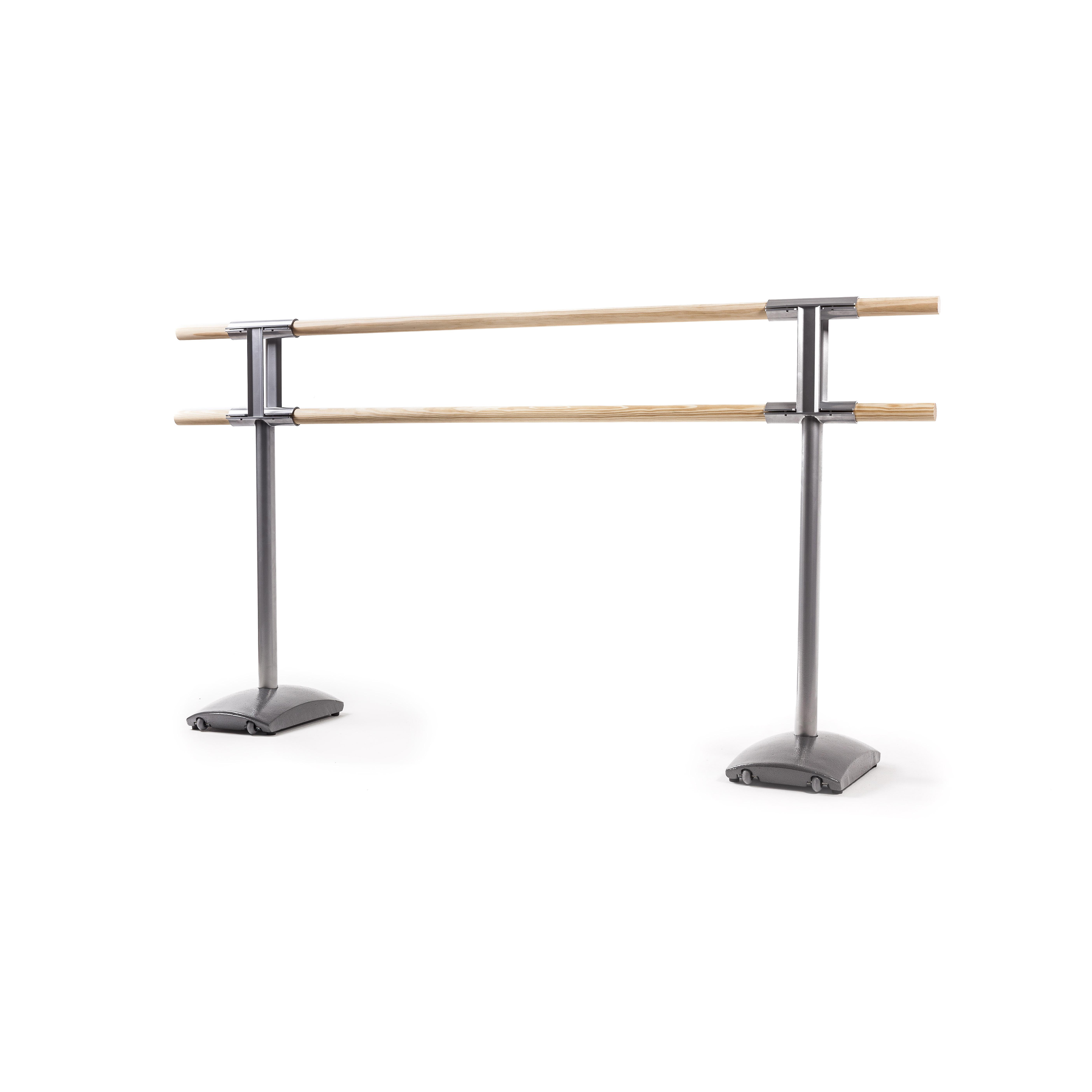 Barre de ballet mobile MAURICE : double barre amovible, sur roulettes.