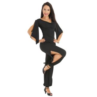 Pantalon de tango RUMPF LISBONA noir, fendu sur le côté, serré à la cheville, avec strass.